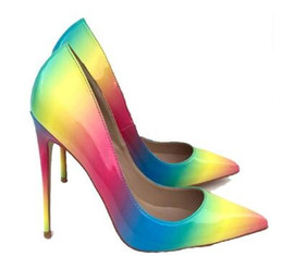 Wholesale womens dress shoes heels - Womens Fashion Slip on Dress Pumps Colorful Rainbow Print Pointy Toe Pencil High Heel Shoes Big size