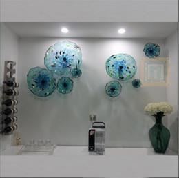espejos de baño largos Rebajas Flor azul Placas Arte de la pared Estilo italiano Vidrio soplado Placas colgantes Arte de la pared Decoración Murano Placa de vidrio para sala de estar Comedor