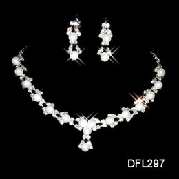 Wholesale Necklace Prom - Rhinestone Faux Pearls Bridal Jewelry Sets Earrings Necklace Crystal Bridal Prom Party Pageant Girls Wedding Accessories Free Shipping