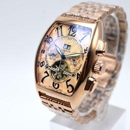 2019 relógios oval Famous luxury AAA geneve marca homens mecânicos de aço completo assistir esqueleto militar auto dia / data homens vestido relógio presente Relógios masculinos Tourbillon desconto relógios oval