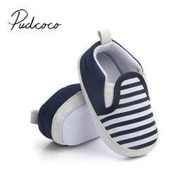 Wholesale Toddler Boy Loafer Shoes - 2017 Brand New Pram Newborn Toddler Baby Girls Boys Kids Infant First Walkers Striped Classic Shoes Loafers Casual Soft Shoes