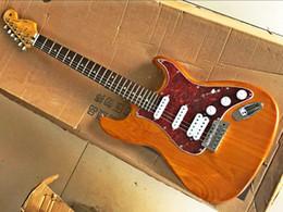 De calidad superior GYST-1055 Cuerpo de aliso sólido original Color rojo placa de concha de diapasón de palisandro guitarra eléctrica, envío gratis desde fabricantes