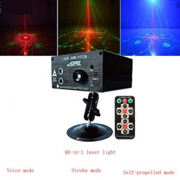 Wholesale Sound Activated Laser Lights - 48-in-1 laser light mini ktv colorful flash LED voice-activated stage lighting laser stage lights free shipping