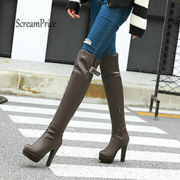 3216ea62235a8d 2019 oberschenkel hohe stiefel chunky fersen Plateau Chunky High Heel  Overknee Stiefel Fashion Seitlicher Reißverschluss Schnalle