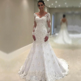 1fa87ae798 Vintage Illusion Long Sleeves Wedding Dresses V Neck Lace mermaid Wedding  Dress Sweep Train Low Back Sexy Country Style Bridal Gowns Cheap