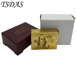 Wholesale Play Grade - New 24K Gold Poker Card Gold Plated $100 Dollar Style, High-grade Leisure Game Golden Playing Card Gift Box With Certificate