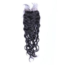 Wholesale natures hair color - Natural Wave Lace Closure Bleached Knots Brazilian Nature wave Human Hair Closure Free Middle 3 Part 100% Human Hair