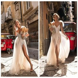 Wholesale Double Color Gowns - Sexy Spaghetti A-line Lace Applique Wedding Dresses 2018 Custom Backless Double High Split Formal Bohemian Garden Cheap Bridal Gowns Lace