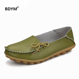 Wholesale Gold Lace Ballet Flats - BDYM Brand 2018 Hot sell Soft Leisure Flats Women Leather Shoes Moccasins Mother Loafers Casual Female Driving Ballet Footwear