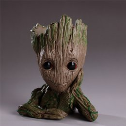tree flowers Coupons - Creative Groot Flower Pot Plant Tree Men Fairy Garden Pot Anime Movie Collection Action Figure Model PVC Kids Toys