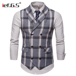 panciotto a bottone alto Sconti IEF.G.S Slim Gilet da uomo Match Suit High-end Business Leisure Doppia fila Button Lattice Slim Vest Moda Autunno Inverno