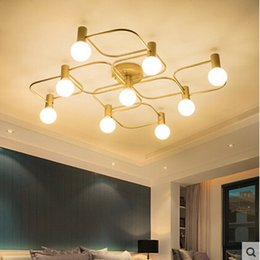 Wholesale Large Led Ceiling Lights - Northern Europe large livingroom led Bronze ceiling lamp modern simple lighting fixture for bedroom restaurant E27 LED bulbs