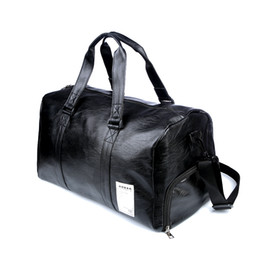 ea104df576b8 leather travel hiking bag Promo Codes - Pu Leather Gym Male Bag Top Female  Sport Shoe