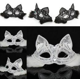 хэллоуин кремний Скидка Хэллоуин лиса кружева маски вечеринка танца фестиваль принцесса сексуальная маска кошки Черный и белый цвет является необязательным FP16