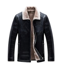 Wholesale Flocked Material - Wholesale- 2017 New leather jackets men Winter thicken coat High quality PU Material casual Men leather jackets coats jaqueta masculina