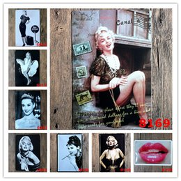 Marilyn Monroe Audrey Hepburn Estrella famosa Vintage Craft Cartel de chapa Retro Metal Pintura Poster Bar Pub Signs Wall Art sticker desde fabricantes