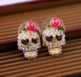 Espárragos del cráneo online-Stud Pendientes Earings para Mujeres Niñas Lovely Pink Rhinestone Rose Skeleton Skull Ear Studs Pendientes