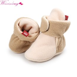 Wholesale Newborn Winter Boots - Unisex Baby Newborn Faux Fleece Booties Winter Warm Walker Shoes Infant Toddler Crib Shoes Classic Floor Boys Girls Boots