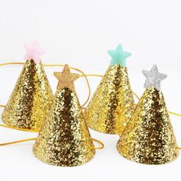estrelas headbows christmas Desconto Chapéus da festa de aniversário da estrela do brilho do ouro headband crianças crianças tampas da festa de natal do ano novo do partido do natal decoração