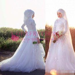 505b2d248f7 2018 Robes de Mariée Une Ligne Dentelle À Manches Longues Arabe Musulman  Robes de Mariée Avec Hijab Col Haut Dentelle Appliques Robes De Mariée  cheap simple ...