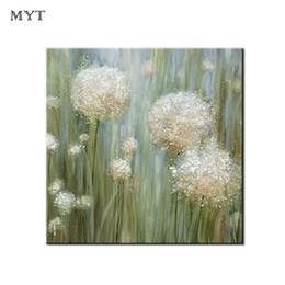 abstrakte moderne einzelne blume Rabatt Handgemalte Löwenzahn Blumen Bilder Modern Home Decor Wandmalerei Kunst Handbemalt Abstrakte Weiße Blume Ölfarbe für Raum