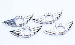 Wholesale Mini Door Stickers - I LOVE MINI Sticker Emblem Wing Decoration For BMW MINI Cooper R55 R56 R57 R58 R59 Door Lock Knob creative