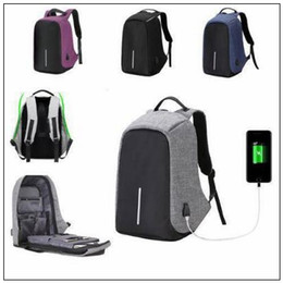 Wholesale Computer Anti Theft - 6 Colors External USB Charge Laptop Backpack Anti-theft Notebook Computer Bag Leisure Travel Backpack Casual School Bag CCA8652 20pcs