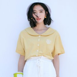93074d302f3c4 2018 New Japan Style Cute Doll Collar Letters Embroidery T-shirts Women  Summer Short Sleeve Loose T Shirt Woman Kawaii Tops doll collar shirts women  ...