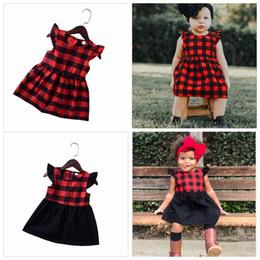 Navidad para bebés niña ropa niñas vestido a cuadros rojo vestidos de princesa niños manga corta vestido informal de moda vestido de boutique de Navidad YL286 desde fabricantes