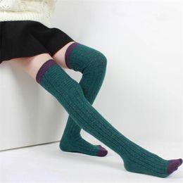 6848249f6042e Chaussettes en laine hiver automne femmes bas mode chaude cuisse haute sur  les chaussettes de genou longues chaussettes respirantes absorbantes QR443  S1017