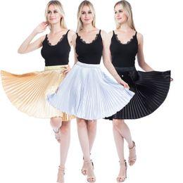 Плиссированные атласные юбки онлайн-Girl Women Loose Casual Cotton Short Knee Length Skirt Beach Skirt Colorful Satin pleated Female Summer Solid Skirts