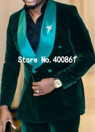 Wholesale Green Double Breasted - Handsome Groom Tuxedos Double Breasted Dark Green Velvet Shawl Lapel Groomsmen Best Man Suit Mens Wedding Suits (Jacket+Pants+Tie) J685