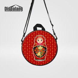 mochila de personaje mochila Rebajas Dispalang Matryoshka Muñeca Roja rusa muñecas de anidación imprime el bolso redondo para niñas Diseño de dibujos animados Cruz Body Bag Kids School