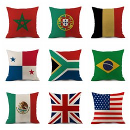 Wholesale cotton decor - Pillow Case 45*45cm 2018 Russia World Cup Home Decor National Flag Throw Cushion Cover Soccer Pillow Covers OOA5003