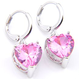 Wholesale Pink Gemstones Earrings - 10Prs Luckyshine Fashion Shine Heart Fire Pink Kunzite Cubic Zirconia Gemstone Silver Dangle Earrings for Holiday Wedding Party