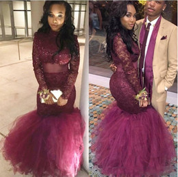 Wholesale two piece dresses fast shipping - Two Piece Sexy Beads Burgundy Mermaid Prom Dresses Lace Applique Jewel Neck Long Sleeves Sexy PROM DRESSES Fast Shipping vestidos de fiesta