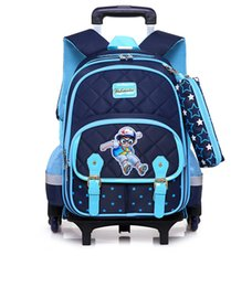 Wholesale School Bags Wheel - Hot Sales Removable Children School Bags with 3 Wheels Child Climb Stair Trolley Backpack Kids Wheeled Bags Boys Girls Bookbag