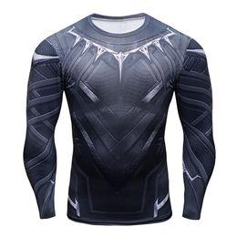 Homens pretos quentes camiseta on-line-Venda quente 3D Black Panther t-shirt de Compressão camiseta de Manga Longa homens Moda Crossfit musculação tshirt Roupas de Fitness Tops