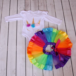 Wholesale Girls Summer Skirt Sets - Unicorn Romper and Tutu skirt Set for Birthday Girls Unicorn Party Favor Boutique Baby Girl Clothes for Sale Unicornio Onesie Party Supplies
