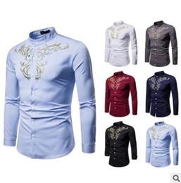 Colori camicie formali da uomo online-Camicia da uomo splendido stile ricamo Henry collo grande camicia a maniche lunghe 6 colori solidi S-2XL top Abbigliamento formale casual
