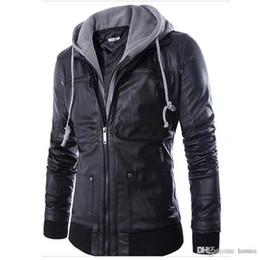 Otoño-Nueva moda para hombre con capucha chaquetas de cuero y abrigos de cuero PU Casual Negro M-XXL Hombres chaqueta de cuero de la motocicleta con capucha Q0315 desde fabricantes