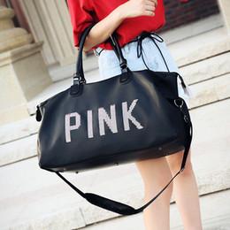 Wholesale Wholesale Tote Bag Luggage - Pink Bag Black Beach Exercise Luggage High Capacity Travel Bag Handbag Women men pink Letter Gym Tote Bag Outdoor Sports Storage Bags HHA1