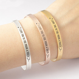 Wholesale Men Bracelet Silver Engraved - whole saleMessage Bracelet Men 2017 Engraved I Love You To The Moon & Back Cuff Bangle Vintage Jewelry Stainless Steel Pulseras Hombre