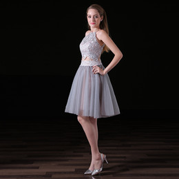 Wholesale hung back dress - Sexy 2 Piece Tuxedo Prom Dresses 2018 Hanging Neck Soft Mesh Lace Back Specially Designed Short Cocktail Dress Party Dress