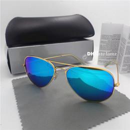 Wholesale mercury mix - High Quality Luxury Set Men Women Sunglasses Glass Lens G15 Mercury Mirror Classic Unisex Eyewear Metal Frame Coating 58mm 62mm Brown Case