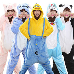 Wholesale Bear Men Costume - Winter Warm Pajamas Animal Stitch Unicorn Panda Bear Koala Pikachu Onesies Adult Unisex Cosplay Costume Sleepwear For Men Women
