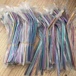 multi metal colorido Desconto Arco-íris atacado Multi-Colored Palhas de Aço Inoxidável 8.5 polegadas Em Linha Reta Dobrado Canudos De Metal Reutilizáveis Barato Palhas Bebendo Para Mason Jars