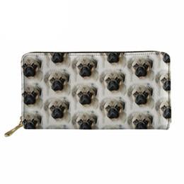2019 borse di pugni Noisydesigns Portafogli donna Cluth Thin Pu Portamonete Portafogli Femmine Carina Pug Dog Design Borsa borse di pugni economici