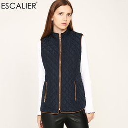 Wholesale Thin Down Coats For Women - ESCALIER 2017 Warm Vests Women Waistcoat Sleeveless Cotton Vest Coat Solid Color Turn-down Collar Outwear For Female