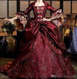 Wholesale Custom Renaissance Dresses - Half Sleeves Wine Red Quinceanera Dress Pleat Lace Appliques Floor Length Renaissance Victorian Period Gothic Vintage Masquerade Gown